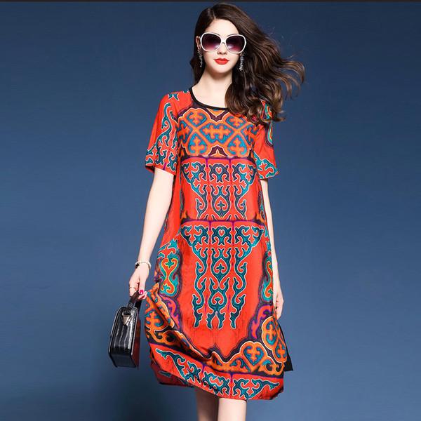 Recién llegado Vestido de seda de imitación Estilo europeo americano Nueva moda Irregular Mujer Media pantorrilla Vestido de gasa Vestidos de verano