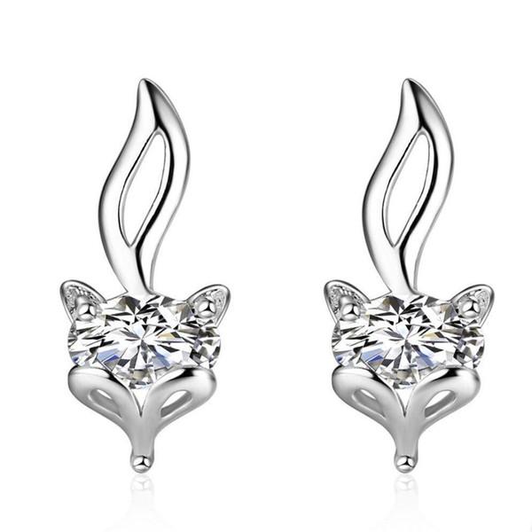 Gümüş Saplama Küpe Sevimli Tilki Altın Kaplama Gümüş Küpe Kız Manşet Kulak Takı Hediye Vida Geri Toptan Tilki Küpe