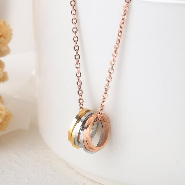 Europe American women men fashion jewelry rose gold multi circles necklace pendant Valentine's Day love festival gift