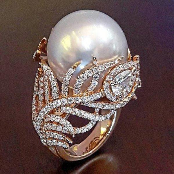 Moda Simulado Pérola Folha Rosa Anéis De Ouro para As Mulheres Jóias Dropshipping anel anillos bagues femme Declaração Jóias O3P038