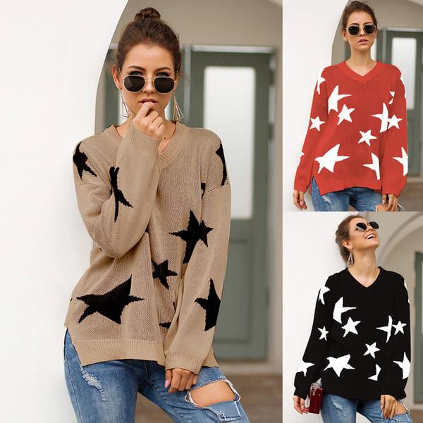Designer de Camisolas para Mulheres 2019 Mulheres Marca Cor Sólida com Padrão de Estrela Impressão Mulheres de Luxo Sexy V Pescoço Blusas de Alta Qualidade