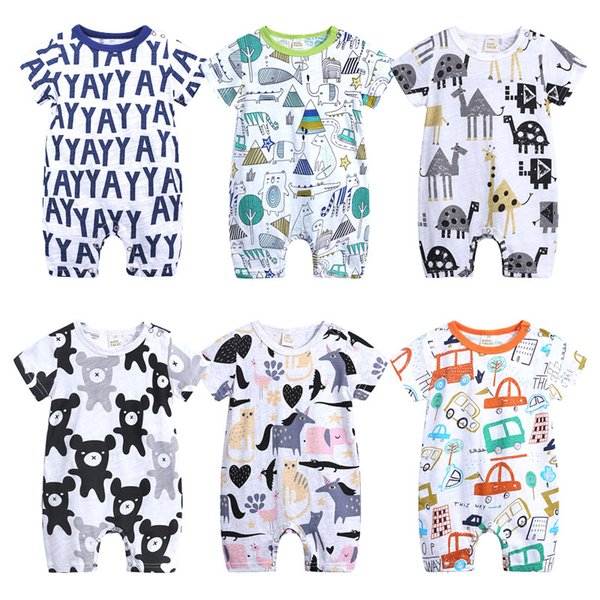 top popular Baby Boys Cartoon Jumpsuits 6 Designs Summer Short Sleeve Cartoon Animal Letter Printed Rompers Kids Designer Clothes Girls Playfit 0-18M 04 2020