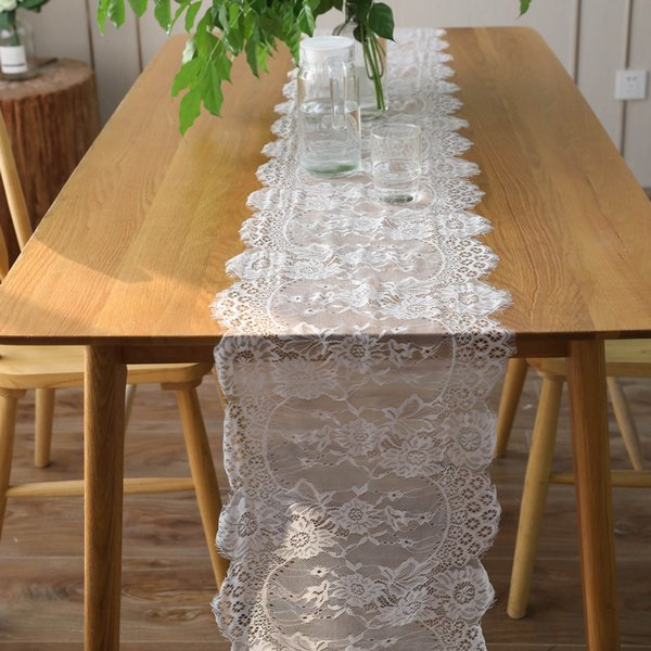 35*300cm European Chair Yarn White Eyelash Lace Table Flag Wedding Decoration Christmas Holiday Party Lace Cloth