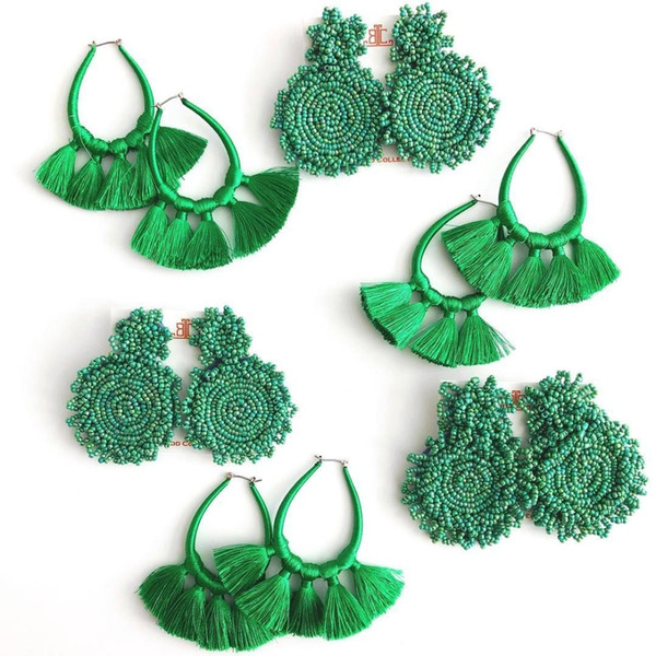 Dvacaman Bohemian Round Green Beads Drop Earrings for Women 2019 Handmade Wedding Dangle Jewelry Tassel Resin Statement Earrings