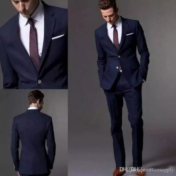 Custom Made Dark Navy Blue Black Men Suit 2019 Fashion Groom Suit Wedding Suits For Men Slim Fit Groom Tuxedos (Jacket+Pants)