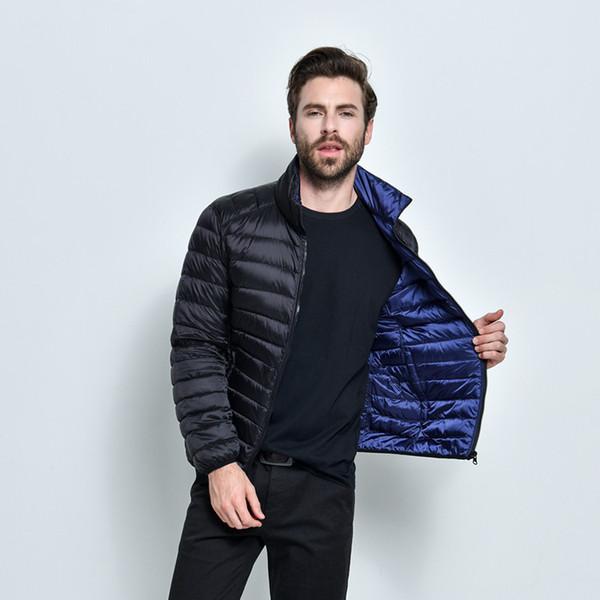 2019 novos homens jaqueta de grife dos homens 100% ganso para baixo fino de alta qualidade jaqueta quente com capuz casaco de algodão casual frete grátis 8542