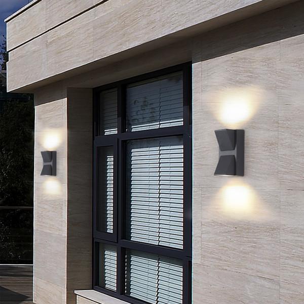Lampada da parete Outdoor impermeabile LED di parete di alluminio di illuminazione del riparo impermeabile IP65 COB up down lampada luce del corridoio di fissaggio a parete