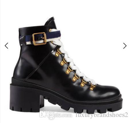New Woman chaussures en cuir à lacets automne tête ronde bottines boucle de ceinture ruban usine directe femme talon rude hiver Martin Boots35-4