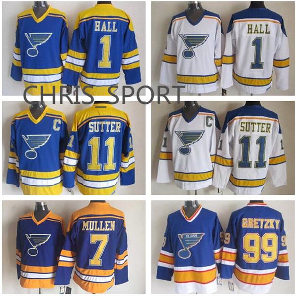 Maillots de hockey des Saint-Louis Blues # 1 Glenn Hall 2 Al MacInnis 7 Joe Mullen 9 Shayne Corson 11 Brian Sutter 16 Brett Hull 99 Gretzky