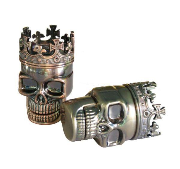 Macinacaffè King Skull Shape Metalplastic Utensili da cucina Smerigliatrici per erbe aromatiche Muller Magnetic 3 pezzi 2 colori vendita