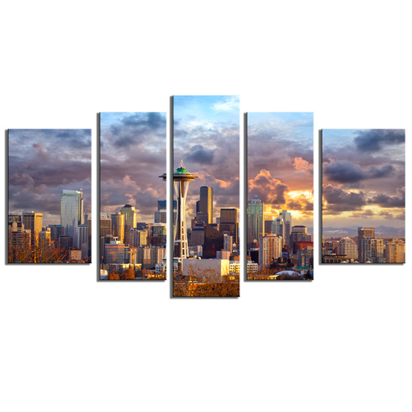 Seattle Sunset Scenery City Painting Pictures Modern Artwork Pictures Home Decorations 5 Pieces Canvas Wall Art