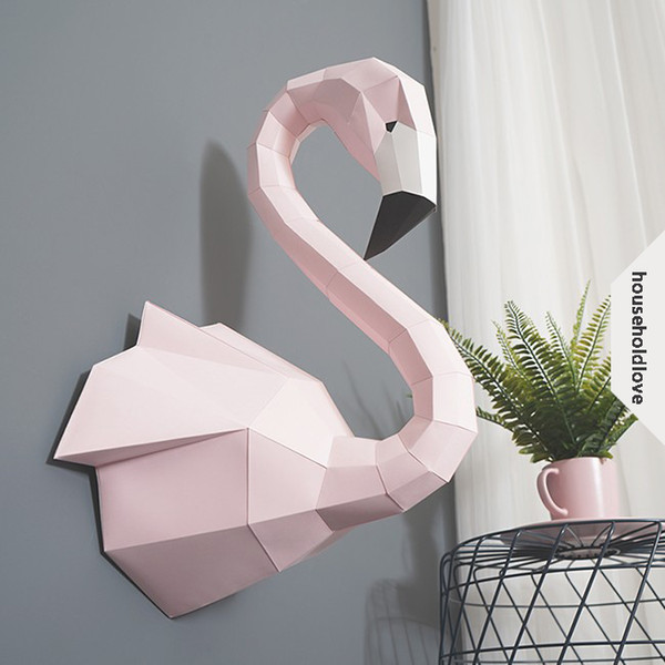 Handmade Creative Flamingo Paper Mold Diy Wall Decoration Art 3d Stereo Simple Nordic Decoration Ins Home Decoration Ideas Novel Gifts Novel Ties From