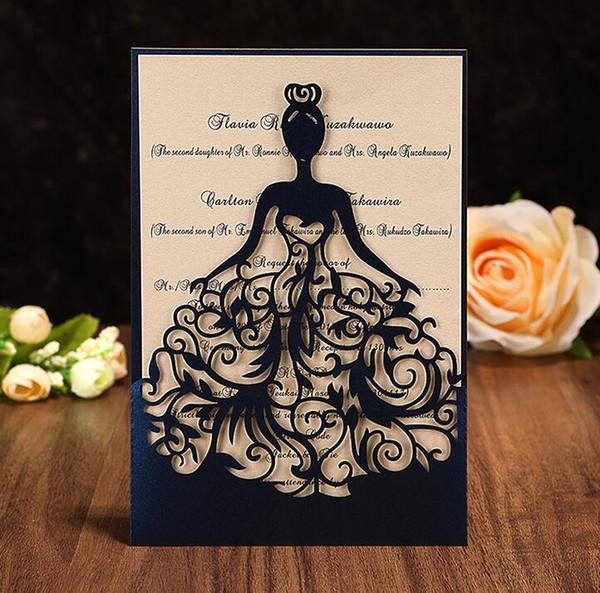 2018 Avrupa Lazer Hollow Kişisel Tasarım Düğün Davetiyesi Özelleştirme Zarf Düğün Aksesuarı Boş Iç Özel Ile Davet Etti