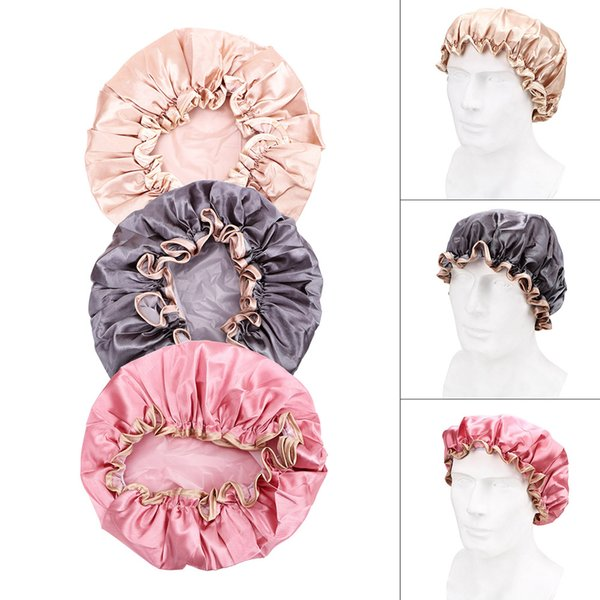 Shower Cap Elastic Bath Hat Reusable Waterproof Bathroom Products Lovely Thick Women Shower Caps Bathing Hair Cover