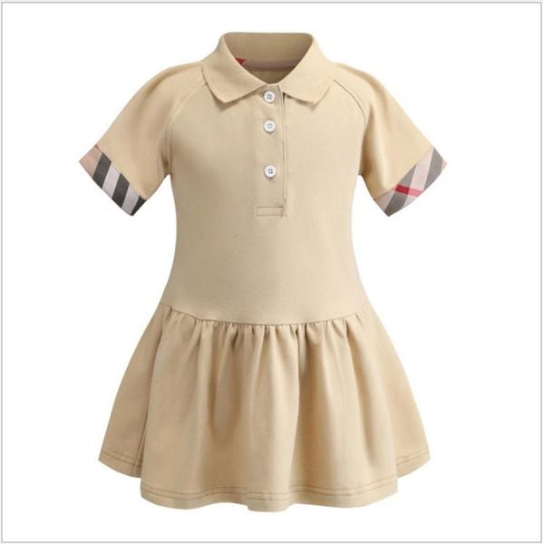 2019 New Summer Girls Polo Shirt Abito a maniche corte Ragazza carina Abiti da principessa Abito in cotone per bambini 90-130 cm