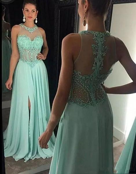 Yeni Varış Nane Yeşil Şifon Balo Dressees Seksi Halter Boyun Çizgisi Boncuklu Sheer Korse Yan Bölünmüş Bir Çizgi Zarif Akşam Resmi Elbiseler 2018