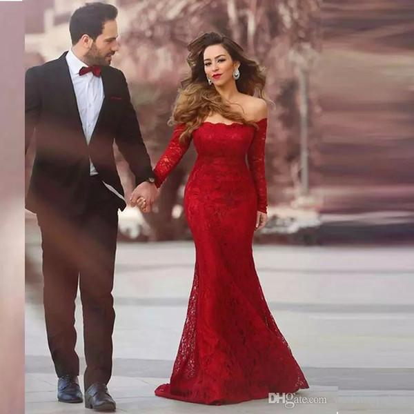 Сексуальная Русалка с длинным рукавом Кружевные выпускного платья с плеча Vestido De Festa Longo Вечерние платья Вечерние платья