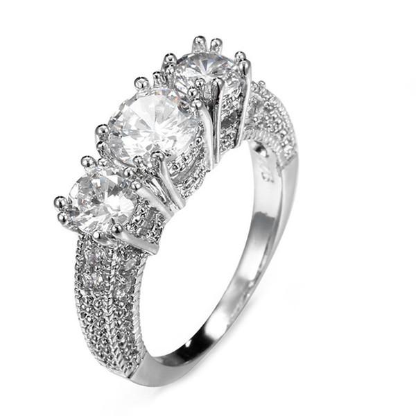 2019 Модные Белого Золота цвета Миди Кольца Циркон CZ Band Кольцо Свадебная Мода Белого Камня Ювелирные Изделия Кольца Для Женщин