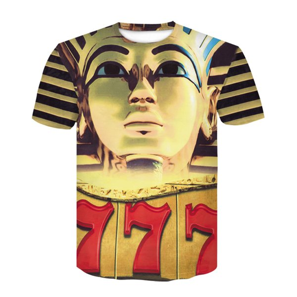 Summer 2019 top fashion short sleeved gold men's and women's t-shirts round collar casual men's clothing fun t-shirts