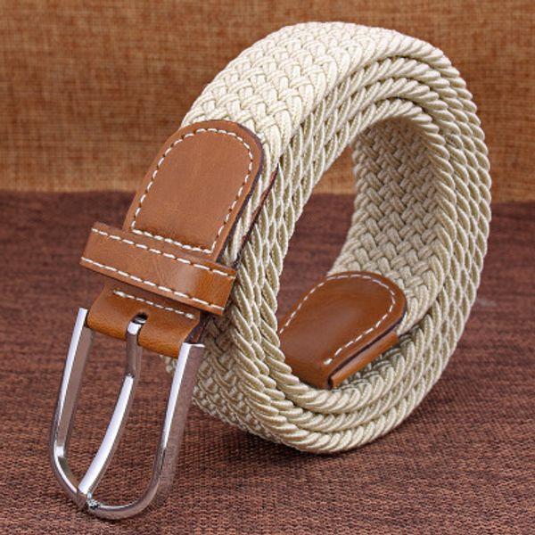 Men Women Casual Knitted Pin Buckle Belt Woven Canvas Elastic Stretch Belts Webbing 2019 Fashion Men's Elastic Knitting Women's