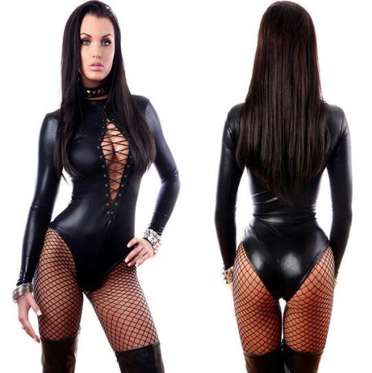 Женщины сексуальный черный винил кожа Белье Bodysuits Эротические костюмы Купальник Резиновые гибкие Hot Latex Catsuit Catwomen Костюм