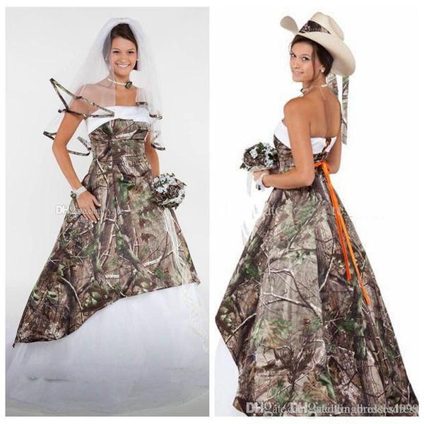 Elegante Strapless Vestidos De Casamento Camo Cetim Tule Espartilho Rendas Até Camuflagem Vestido De Noiva País Cowgirls Vestidos De Noiva Varrer Trem