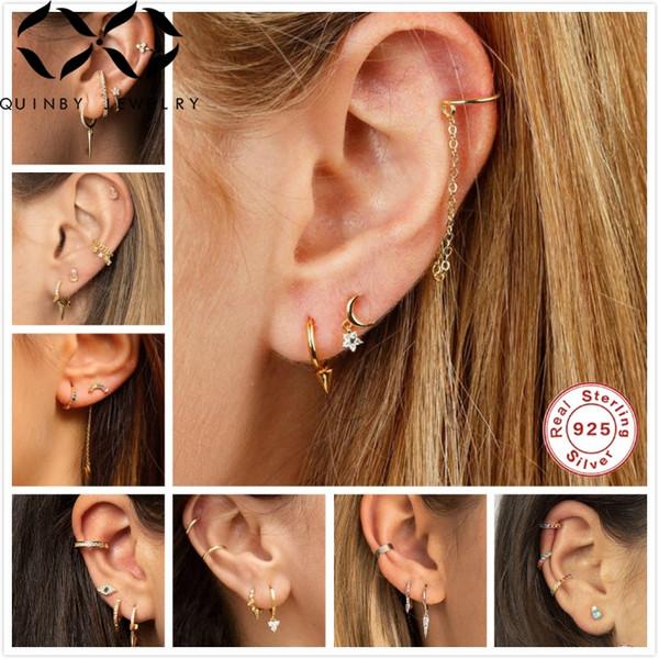 Quinby 925 Sterling Silver Earrings For Women Ear Bone Clips Men Small Hoop Earrings Punk Gothic Ear Hoops Girl Mini aretes Q5