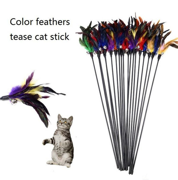 top popular Bell feathers Pet tease cat stick Color interactive teasing cat toys Fishes deity to amuse the cat pole k0690 2021