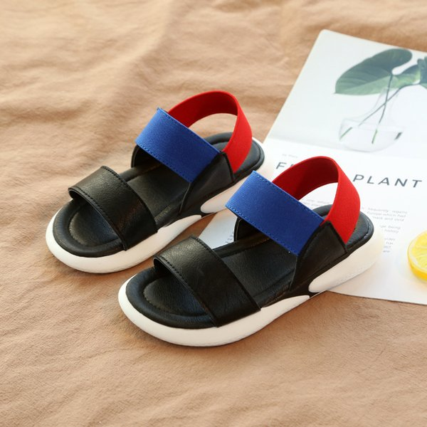 Fashion red green New summer Leisure boys Beach shoes Girl Non-slip Soft bottom tide Korean version Wild baby Elastic grils sandals