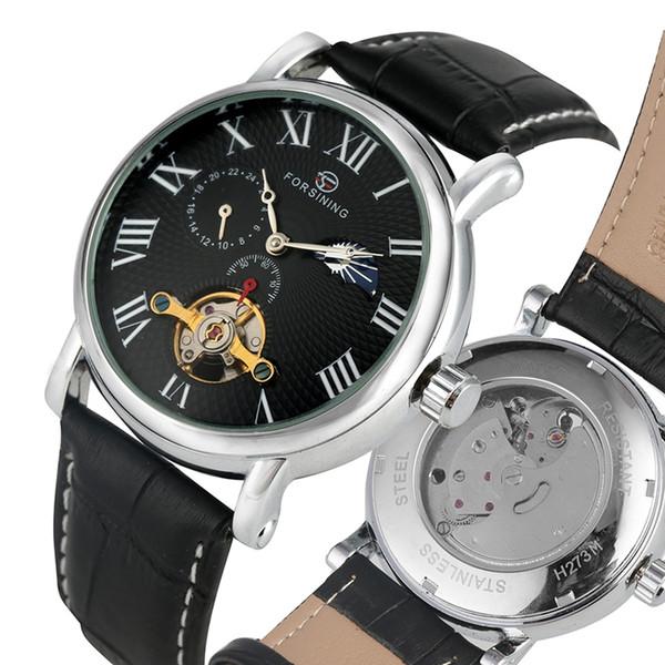 Unique Tourbillon Skeleton Автоматические механические часы для мужчин Черный кожаный ремешок Часы для мужчин Классические римские цифры циферблат наручные часы