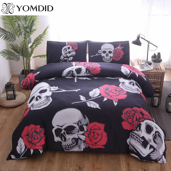 Drop Shipping 2/3pcs 3D Ride Die Bedding Set Motorcycle Printing Duvet Cover Pillowcase Red Rose Beautiful Skull Duvet Cover Set