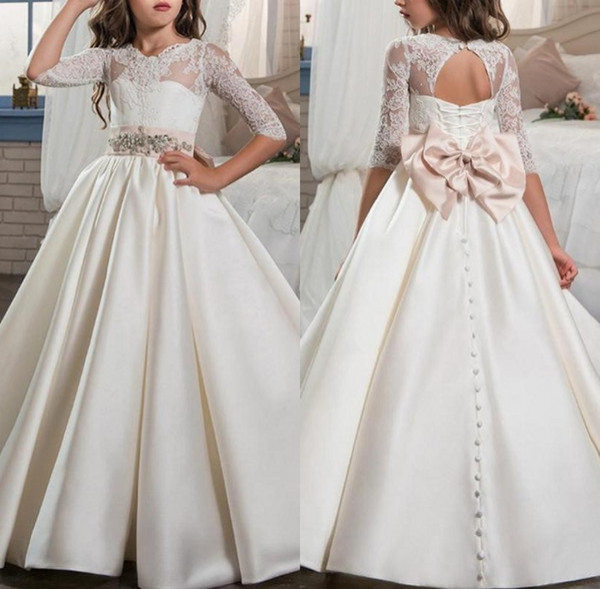 213199ae64 Lovely Pink Bow Sash Flower Girl Dresses Jewel Neck Half Sleeve Pageant  Dress Kids Formal Wear