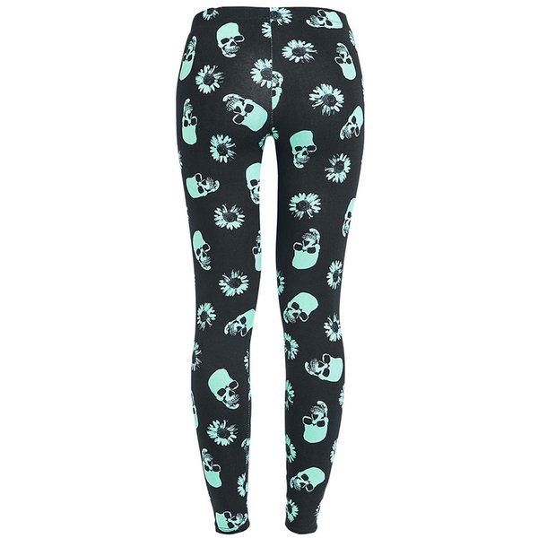 Women Skull Heads Leggings Skeleton & Flowers Printed Legging Fashion Sexy Skinny Pant good quality Drop Shipping
