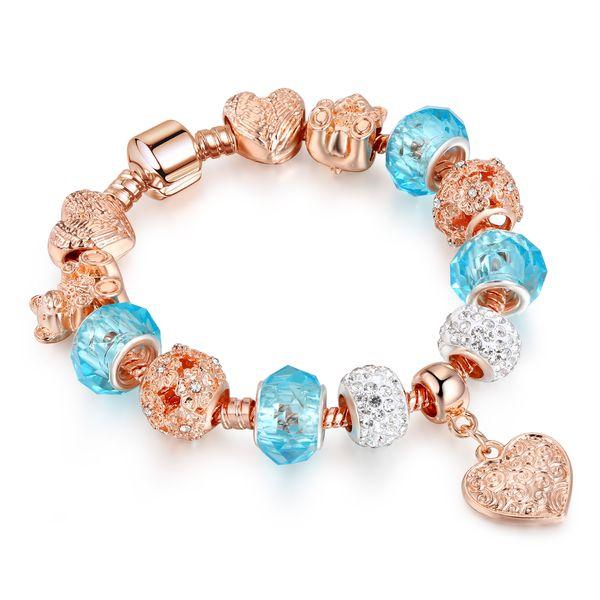 New European Charm bracelet with Heart Pendant for Women DIY Crystal Bear Bracelets Pulseira Jewelry Gift AA164