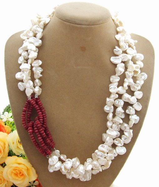"Women's 19"" 3 Rows White Keshi Pearl Red Stone Necklace"