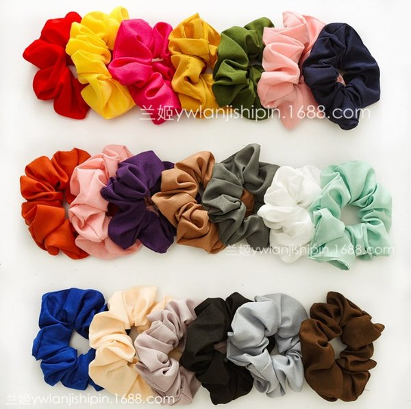 top popular 20 color Women Girls Solid Sweet Chiffon Scrunchies Elastic Ring Hair Ties Accessories Ponytail Holder Hairbands Rubber Band Scrunchies 2019