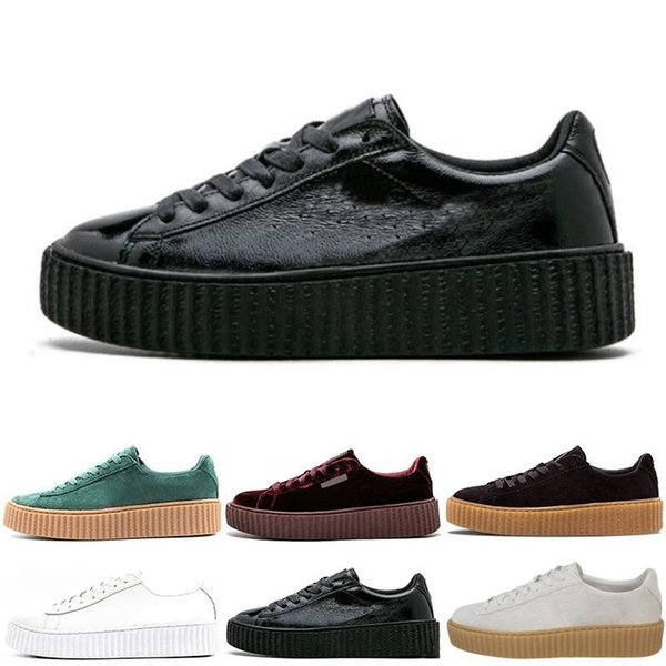 Wholesale Charity Fenty Suede Cleated Creeper Rihanna Grey Red Camo Black Gold Tiple White Men Women Rihannas Casual Sneakers 36-44