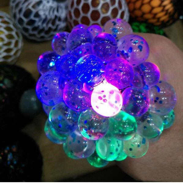 6cm LED luminous Cute Anti Stress Face Reliever Grape Ball Autism Mood Squeeze Relief HealthyToy Chameleon lamp Grape DecompressiontoysD0218