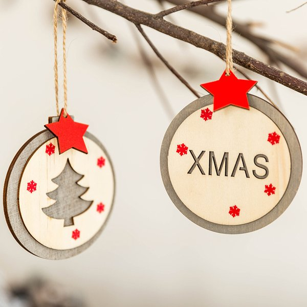 Deer Star New Year Natural Wood Christmas Tree Ornaments Pendants Hanging Crafts Xmas Decor Home Wedding Party Decoration 62616