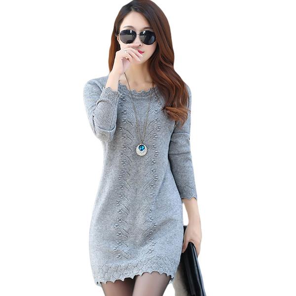 Women Sweaters Dress Pullovers 2019 New Winter Warm Long Knitted Sweater Knitwear Poncho Tunics Gray Black Beige Plus Size D005 J190531
