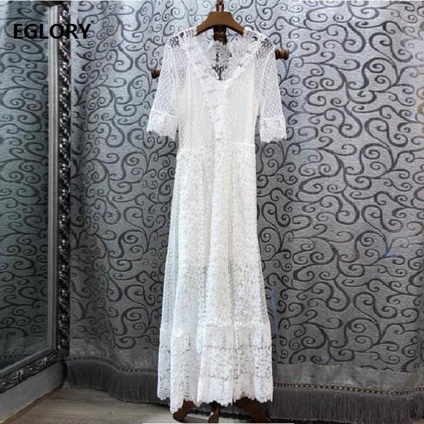 Vestido longo branco 2019 festa de casamento de moda verão mulheres com decote em v allover tulle lace bordado manga curta longo maxi dress festa