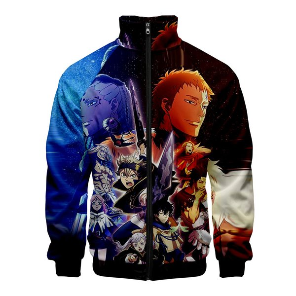 Anime Black Clover Jackets Men/Women Harajuku 3d Windbreaker Japanese Anime Zipper Jacket Boys Black Clover Printing Coats