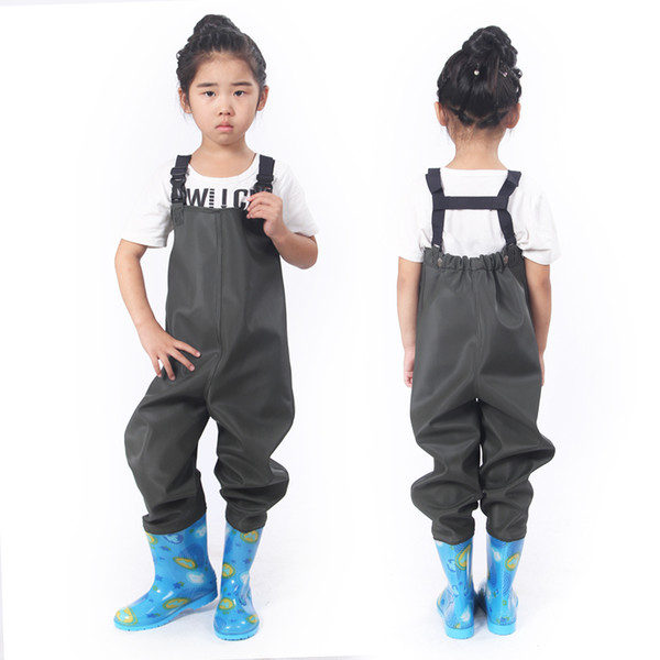 kids suspender waterproof pants with rain boot outdoor wading trousers waders fishing camping farming overalls 032905 thumbnail