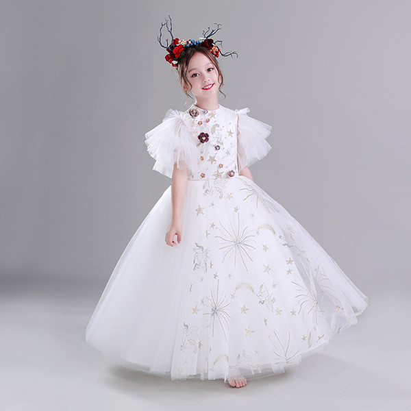 Lovely Children Christmas Ball Gown Girls Pageant Gowns with Champagne Lace Appliques Bow Flower Girl Dress for Weddings Custom Made