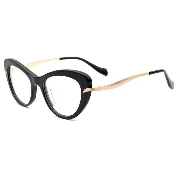 Qualità all'ingrosso EURO-AM Occhiali donna Cateye Butterfly frame49-18-142 importati plancia + cerniera elastica in metallo per imballaggio occhiali da vista