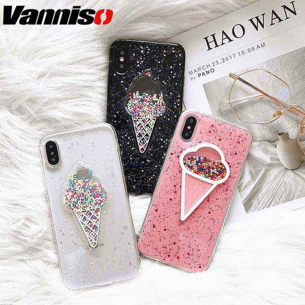 Pink Glitter Bling Ice Cream Phone Cases For Iphone Xs 7 8 Plus Cute Moon Case For Iphone Xs Max Xr 7 8 6s Marble Soft Tpu Cover