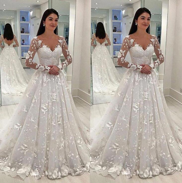 Sexy Women Wedding Dress White Lace Long Dress Deep V-neck Long Mesh Lace Sleeve A-line Pleated Floor-length Dresses