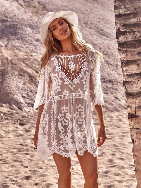 Kadın Lady Beachwear Mayo Püskül Bikini Örtbas Yaz Sarong Plaj Elbise