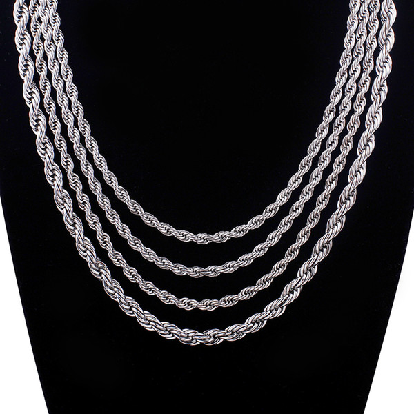 in bulk 5pcs silver Stainless steel Singapore twist chain Necklace 4mm 22''-30'' fashion gifts jewelry