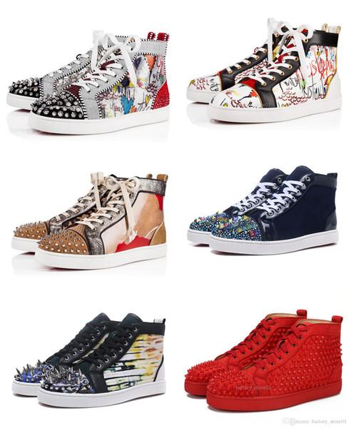 Designs Chaussures de Spike mollet junior Low Mix Cut 20 Red Bottom Sneaker Party Luxe Chaussures de mariage en cuir véritable Spikes Chaussures à lacets Casual